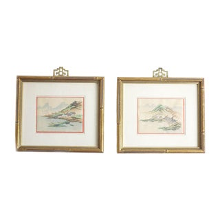 Hand-Painted Chinese Landscapes - A Pair