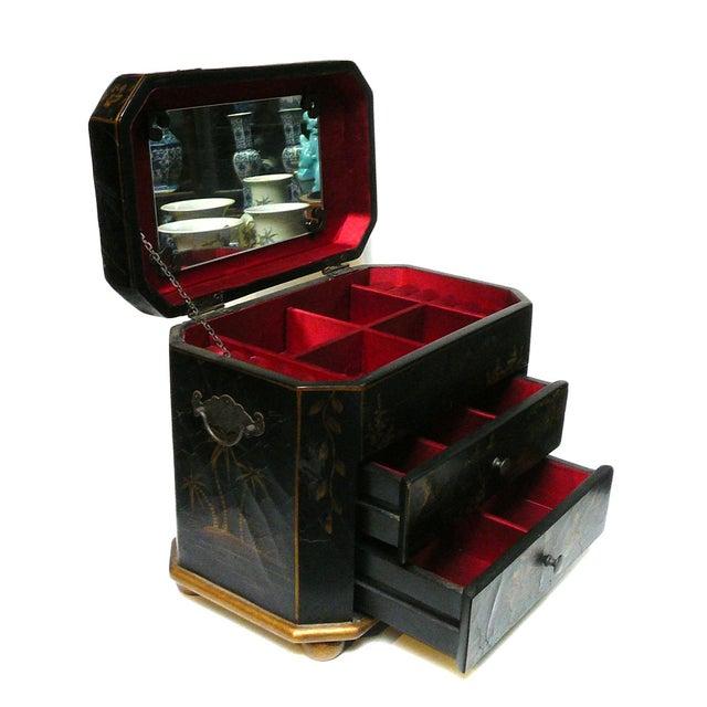 Handmade Chinese Black & Golden Jewelry Box - Image 3 of 7