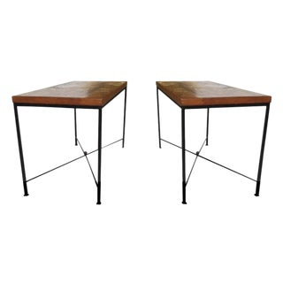 Oak & Iron End Tables - A Pair