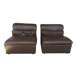 Italian Brown Leather Chairs - Pair