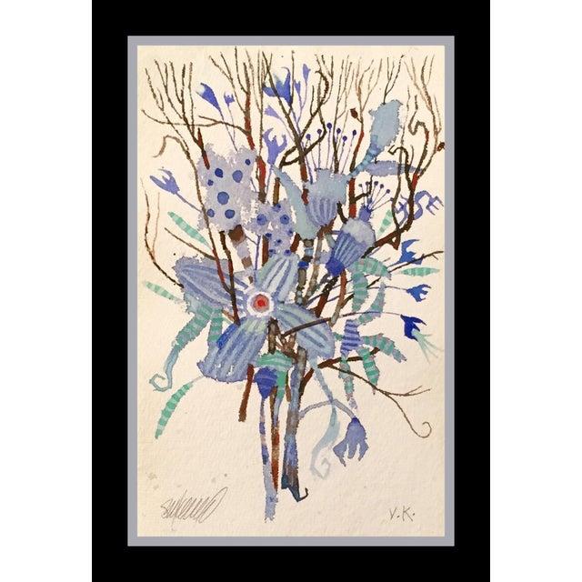 """""""Blue Brush"""" Original Watercolor - Image 3 of 3"""