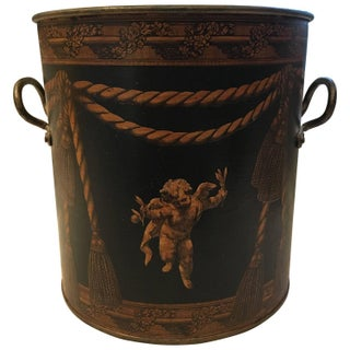 Copper Decoupage Decorated Cachepot or Kindling Holder