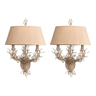 Palm BeachMetal Coral Wall Light Sconces - A Pair