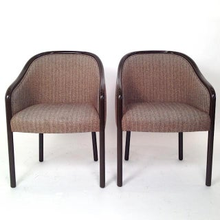 Pair of Ward Bennett Armchairs Newly Lacquered in Chocolate Brown