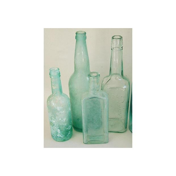 Antique Teal & Blue Glass Bottles - Set of 10 - Image 5 of 8
