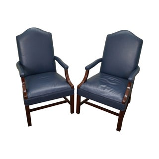 Blue Leather Chippendale Style Arm Chairs - A Pair