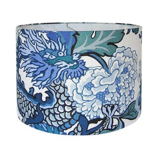 New, Made to Order, Large Drum Shade, Chiang Mai Dragon China Blue Fabric