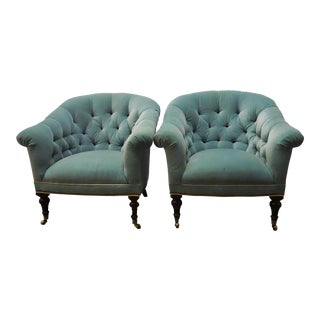 Pale Peacock Blue Tufted Armchairs- a Pair