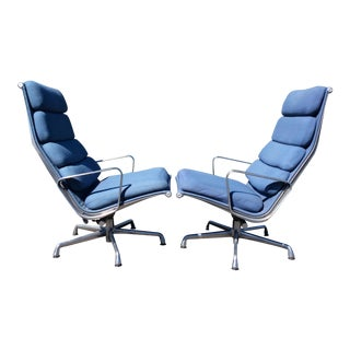 Eames Aluminum Group High Back Lounge Chairs - A Pair
