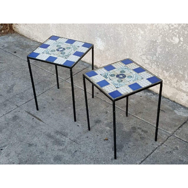 Vintage Morracan Tiled Top Side Tables - A Pair - Image 7 of 7