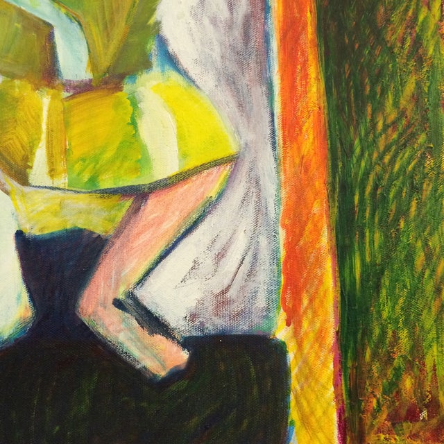 """1984 """"Girl in a Dress"""" Cubist Painting - Image 3 of 7"""