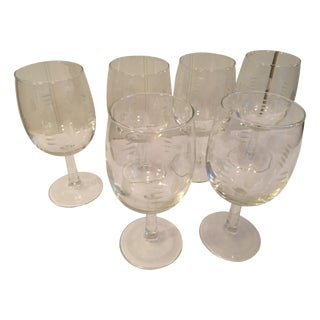 Mid-Century Etched Wine/Water Glasses - Set of 6