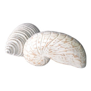 Hand Crafted Wood Seashell Sculptures - A Pair