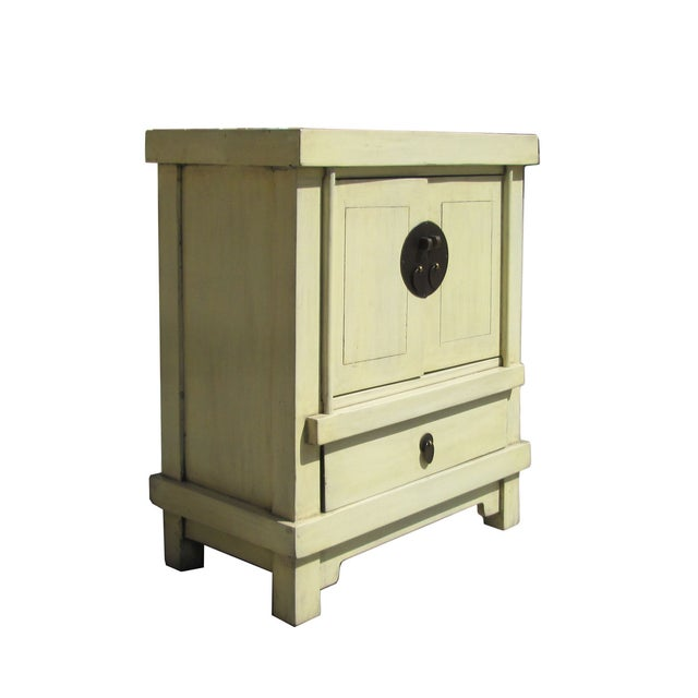 Image of Off White Cream Lacquer End Table Nightstand