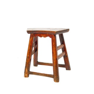 Chinese Provincial Fan Shaped Stool
