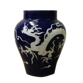 Chinese Vintage Dark Blue White Porcelain Dragon Pot