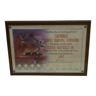 Chevrolet Service Certificate of Achievement Plaque 1997