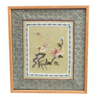 Framed Embroidered Silk Panel