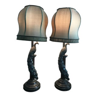 Maitland-Smith Peacock Table Lamps - a Pair