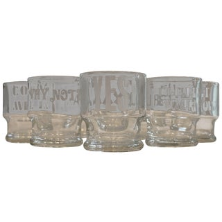 1970s Rocks Glasses with Etched Sayings - Set of 8