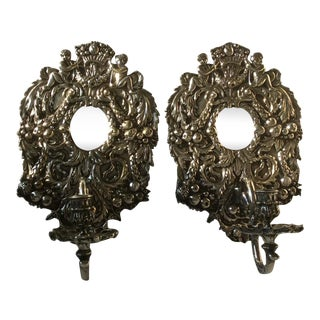 English Silver Plated Bronze Candle Wall sconces