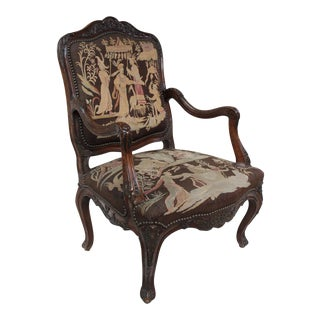 French Louis XV Walnut Arm Chair