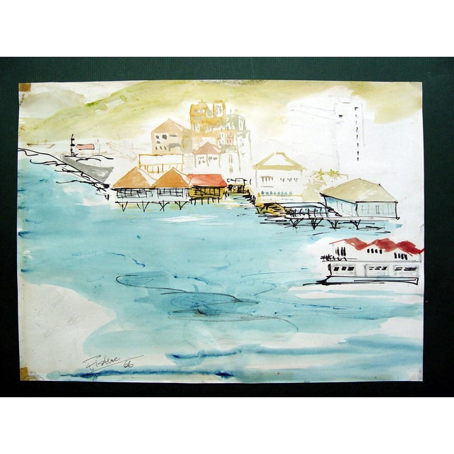 Exotic Harbor Watercolor Painting - Image 2 of 3