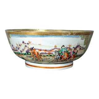 Chinese Export Famille Rose Hunt Bowl with European Figures