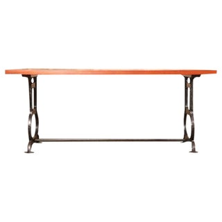 Vintage Industrial Rustic Farm Wood Cast Iron Steel Conference Dining Table
