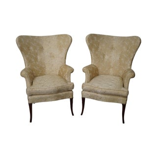 Vintage Fan Back Fire Side Wing Chairs- A Pair