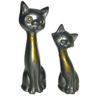 Mid Century Pewter Modernist Stylized Cats - Pair