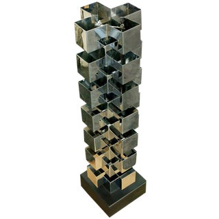 Chrome Interlaced Column Sculpture Table Lamp by Curtis Jere