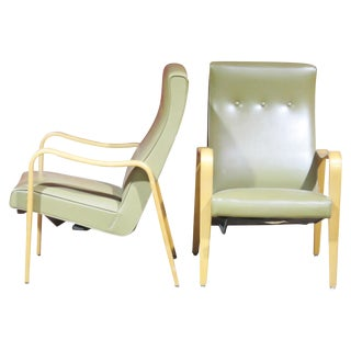 Pair Thonet Style Modern Lounge Chairs