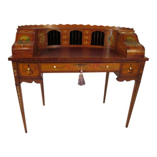 French Antique Satinwood Painted Carlton Desk