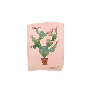 "Contemporary ""Pink Cactus"" Original Watercolor Painting"