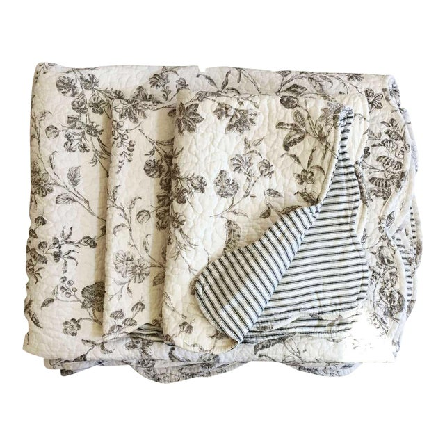 Black & White Matelasse Twin Coverlets and Shams - a Pair - Image 1 of 6