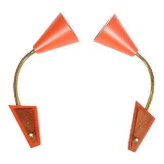 Danish Modern Red Gooseneck Sconces - Pair