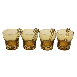 Mid-Century Egyptian Revival Brass & Glass Mugs - Set of 4