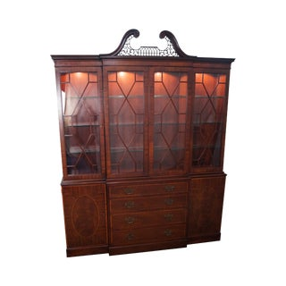 Baker Mahogany Chippendale Style Inlaid Breakfront Cabinet