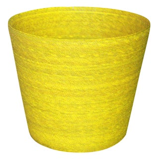 Palm Handwoven Waste Basket in Yellow