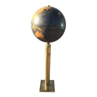 Vintage Brass & Glass Globe Table Lamp