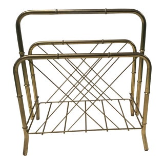 Brass Faux Bamboo Magazine Rack