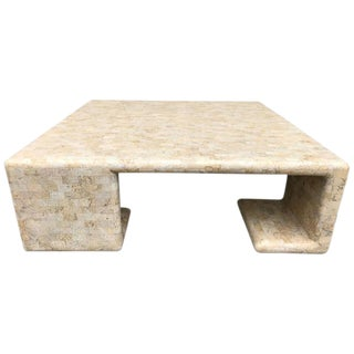 Maitland-Smith Tessellated Fossil Stone Tiled Coffee Table