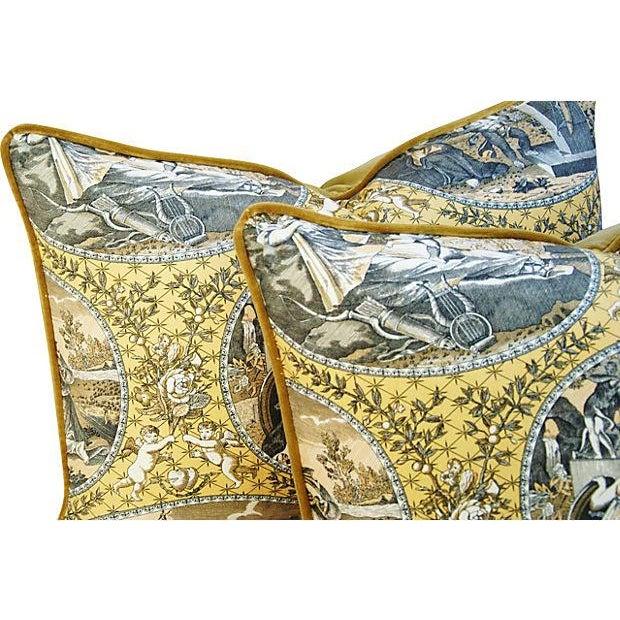 Custom Scalamandre Cupido Toile Pillows - A Pair - Image 4 of 5