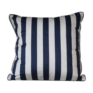 Bold Navy Blue & White Striped Pillow