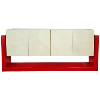 Faux Parchment Floating Illuminated Credenza in the Manner of Karl Springer