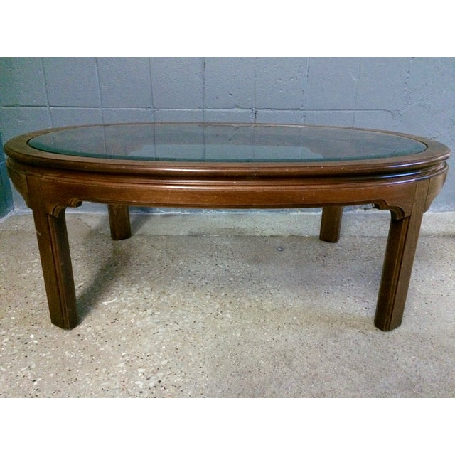 Large Wood Coffee Table: Vintage Large Oval Wood & Glass Coffee Table