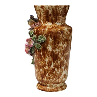 Early 20th Century French Hand-Painted Barbotine Vase