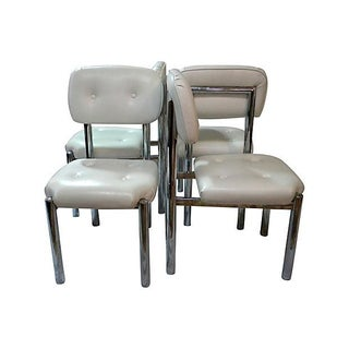 Modern Chrome Dining Chairs - Set of 4