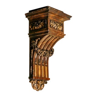 Large French Carved Wood and Gilded Corbel